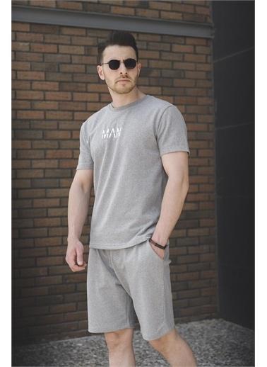 Oksit Brice Man Düz Nakış İşlemeli Slim Fit Şort Tshirt Takım Gri